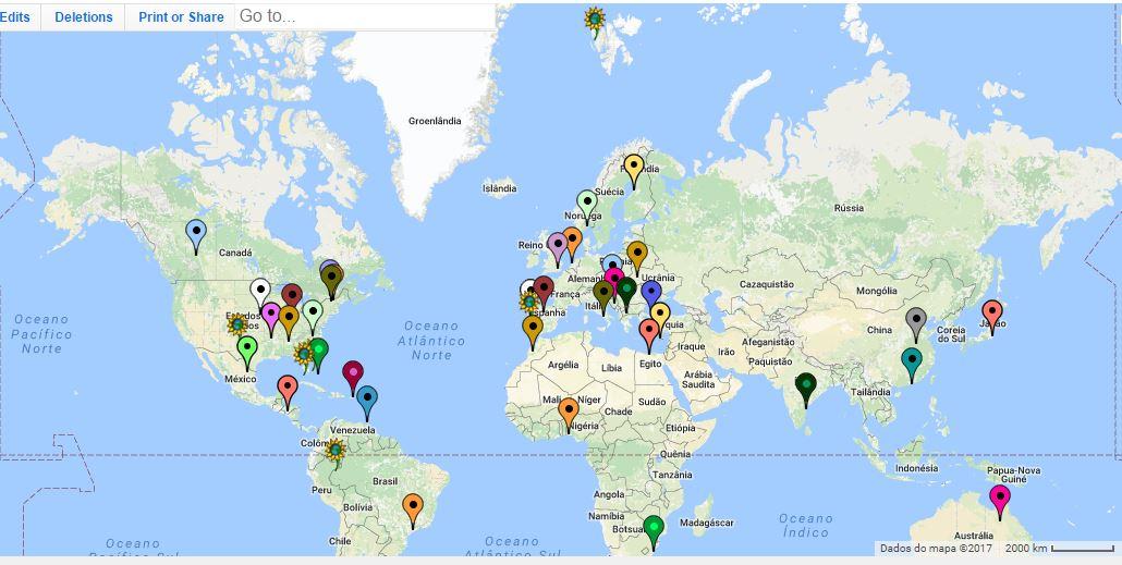 Mapa das visitas